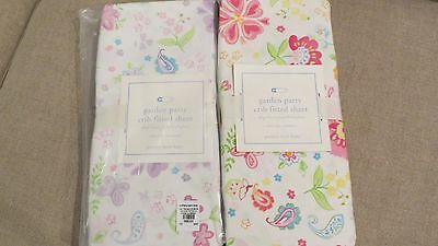 2 Pottery Barn Kids Garden Party Girl Crib Fitted Sheets NEW w/ packaging floral