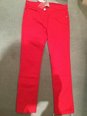 JACADI GIRLS JEANS STRETCH DENIM BRAND NEW WITH TAGS SIZE 8 ans RED ROSE