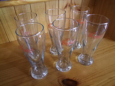 COOPERS COLLECTABLE RED LABEL 6 x 285ML BEER GLASS IN EXCELLENT CONDITION