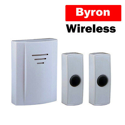 Byron Battery Wireless Remote Doorbell Door + 2 Bell Pushes Bell DB314