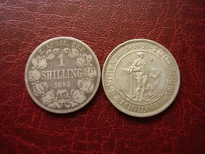 South Africa 1895 and 1923 Shilling coins