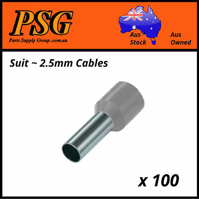 Cable Ferrules 2.5mm2 x 100 pack, Bootlace Ferrules, Pin Crimps, Wire Sleeves