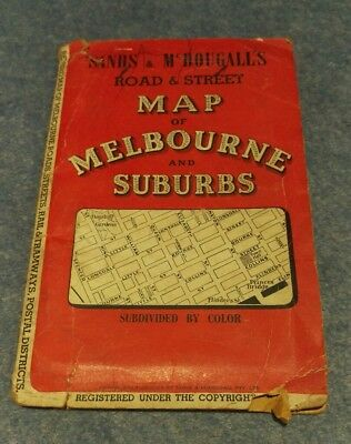 Sands & McDougall's Road & Street Map of Melbourne and Suburbs. 1940's.