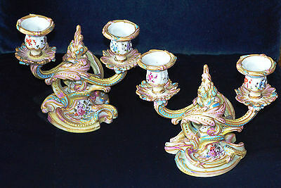 Antique Continental Porcelain Rococo Twin Armed Candlesticks Pair of A/F