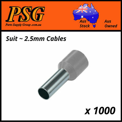 Cable Ferrules 2.5mm2 x 1000 pack, Bootlace, Pin Crimps, Wire Sleeves