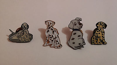 Collection of 4 Metal & Enamel Pins/Badges in the Form of Dalmatian Dogs.