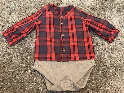 Baby Boy Checked Shirt 0-3 Months M&S Red Navy Babygrow