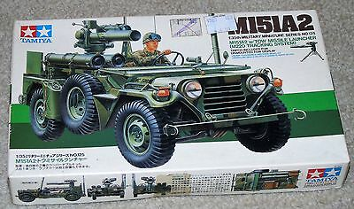 TAMIYA U.S. M151A2 Jeep with Tow Missile Launcher 1/35 scale plastic model kit.