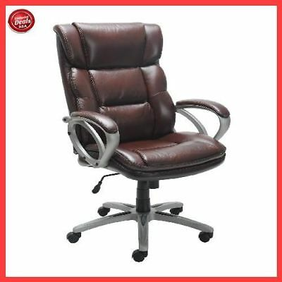 Big Man Office Chair Executive Desk Wheels Arms Heavy Duty Bonded Brown Leather