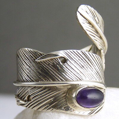 FEATHER Wrap Ring Size US 4-9 Adj SilverSari Solid 925 Sterling Silver AMETHYST