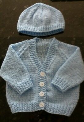 Hand Knitted Blue 3 months Baby Cardigan and Hat 17in Chest
