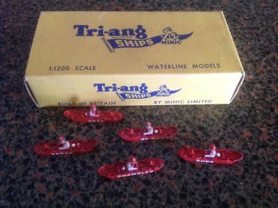 Tri-Ang Minic Ships Light Vessels X 5 Different With Original Box