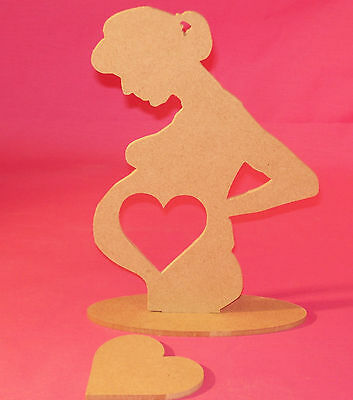 4mm Thick MDF Pregnant lady/scan frame craft blank