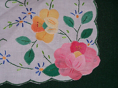 STUNNING VINTAGE FLORAL HAND APPLIQUED BUN COVER, NEVER USED, c1940
