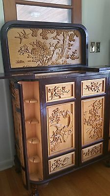 Antique Chinese Hand Carved Wood Cabinet Bar