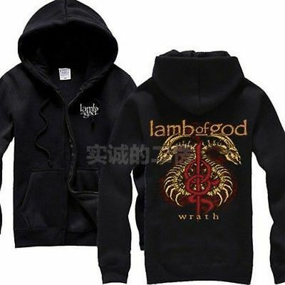 NEW Pullover Lamb Of God Wrath Logo Zip Hoodie Fan Tour Concert Sweatshirt