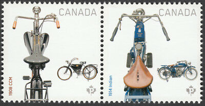 MOTORCYCLES 1908 CCM & 1914 INDIAN se-tenant pair fr souvenir sheet Canada 2013