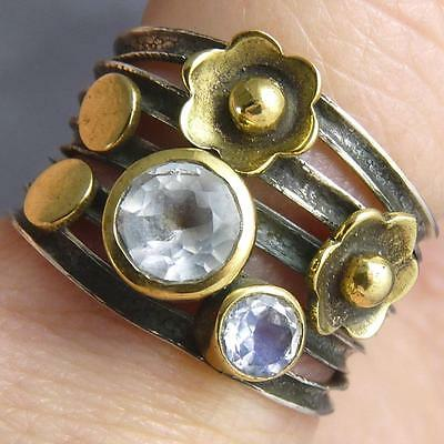 Oxidized FIXED STACK Sz US 5.75 SILVERSARI Multi Ring Solid 925 Silver MOONSTONE