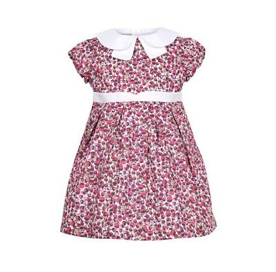 Hucklebones Gathered Sleeve Bodice Dress Liberty Print Pink Eliza's Age 4 Years
