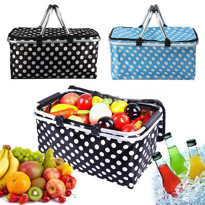 Folding Picnic Camping Insulated Cooler Cool Bag Hamper Food Drink Lunch Basket