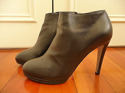 Sergio Rossi Black Leather Ankle Boots Size 37