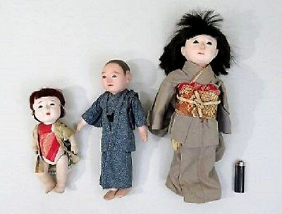 WWII Antique Japanese Lot of Dolls, with clothing and glass eyes 3 in lot