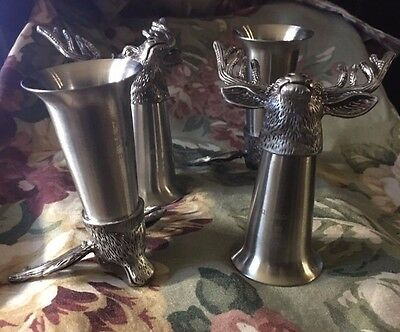 Set Of 4 Jagermeister Stag Head Shot Glassses. Pewter And Stainless