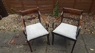 Pair of Antique Regency Period Scroll Mahogany Elbow Chairs