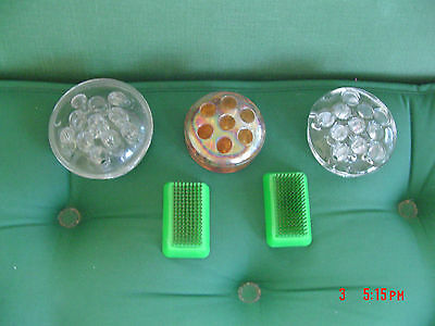 5 -Vintage Flower Frogs, Iridescent Marigold,Clear Glass(2), Metal Spike(2)