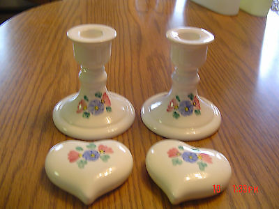 Pretty Pair of Ceramic CANDLE STICKS with Blue & Mauve Flowers & Matching Hearts