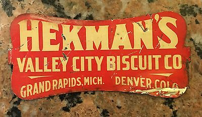 """1907 Scarce Hekman's Valley City Biscuits Tin Sign  8.25"""" X 4"""" Crackers"""