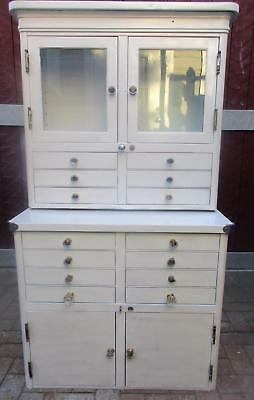 Antique Medical-Dental Cabinet -Glass Cabinet & Drawers- Bot. Drawers-2 Pcs 56""