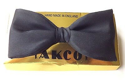 Vintage AKCO 100% Silk Bow Tie Ready Tied Black Adjustable Neck NEW! FREE P&P