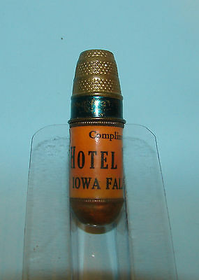 Vintage Ad for Hotel Woods Iowa Falls IA Brass Sewing Kit & Thimble Made Germany