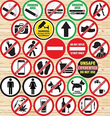 Self Adhesive Stickers Hazard Label Sign✔Warning✔Caution✔No Smoking✔No Dogs✔CCTV