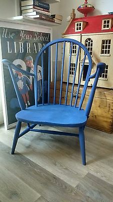 Ercol Windsor Fireside low Lounge wooden chair, mid century - Delivery available