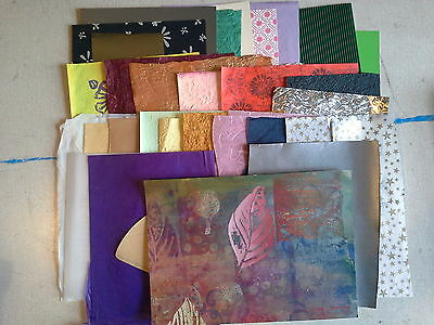 Selection of papers suitable for mixed media art work, collage, cards, etc.