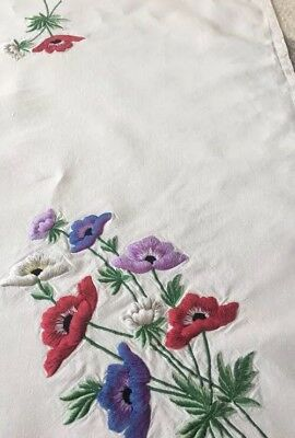 Vintage Hand Embroidered Beautiful Poppy Large Tablecloth