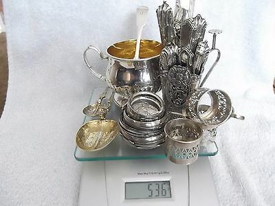 Antique/vintage Silver 536 Grams Of Scrap & Collect Bowl Cups Spoons