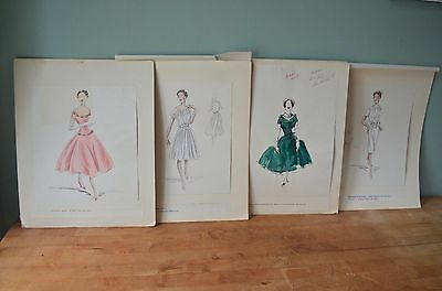 Rare set of 4 1950's Vintage Fashion Drawings Watercolour Original- Dior style