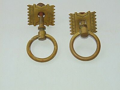 Pair Vintage Antique Art deco Drawer Drop Ring Pull Handles 2""