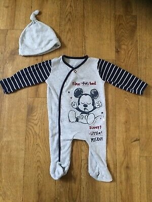 Disney Baby At George Boys Mickey Mouse Grey Babygrow And Hat Set 0-3 Months