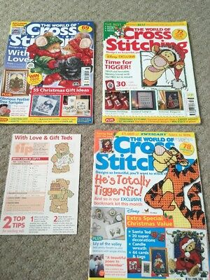 THE WORLD OF CROSS STITCHING MAGAZINE Christmas Themed Charts Issues 51, 66, 69