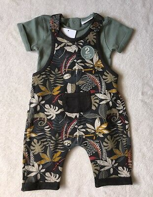 ***BNWT Next baby boy Tropical cotton dungarees 0-3 months***
