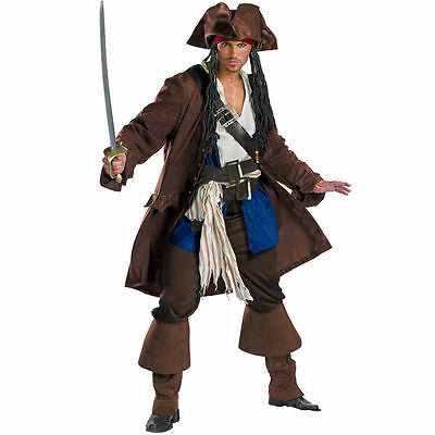 Mens Pirates Of The Caribbean Captain Jack Sparrow Fancy Dress Costume Deluxe