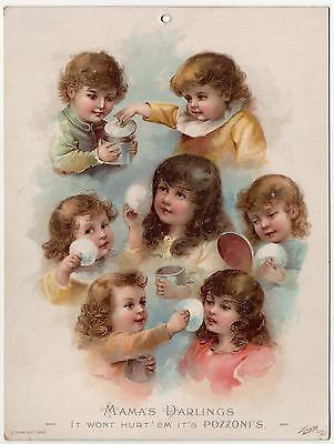 Large Pozzoni's Face Powder St. Louis Victorian Litho Trade Card / Window Card