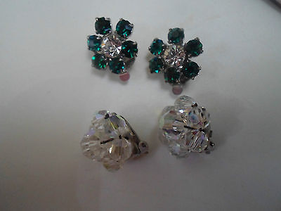 2 Pairs of Vintage Clip On Retro Earrings  Great for Props or Party Wear  #21