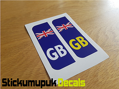 Pair GB Flag Union Jack Car Number Plate Vinyl Stickers UK legal Peel & Stick