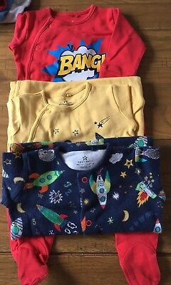 Next X3 Boys Space, Rocket And Bang Themed Jumpsuits Size 0-3 Months