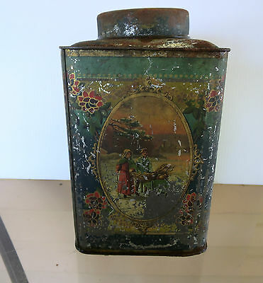 Antique Tin  Tea Caddy